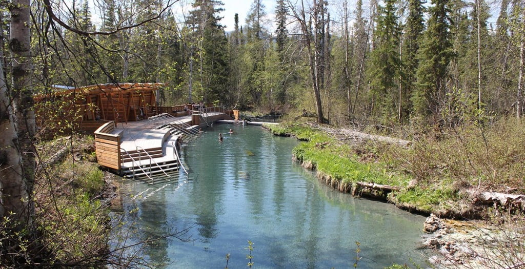 Liard Hot Springs, a popular stop along the Alaska Highway