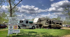 Mile 0 RV Park & Campground Entrance