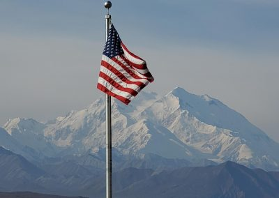 USA Flag with Denali in Background