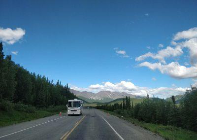 RV travelling along the Tok Cutoff Highway, Alaska