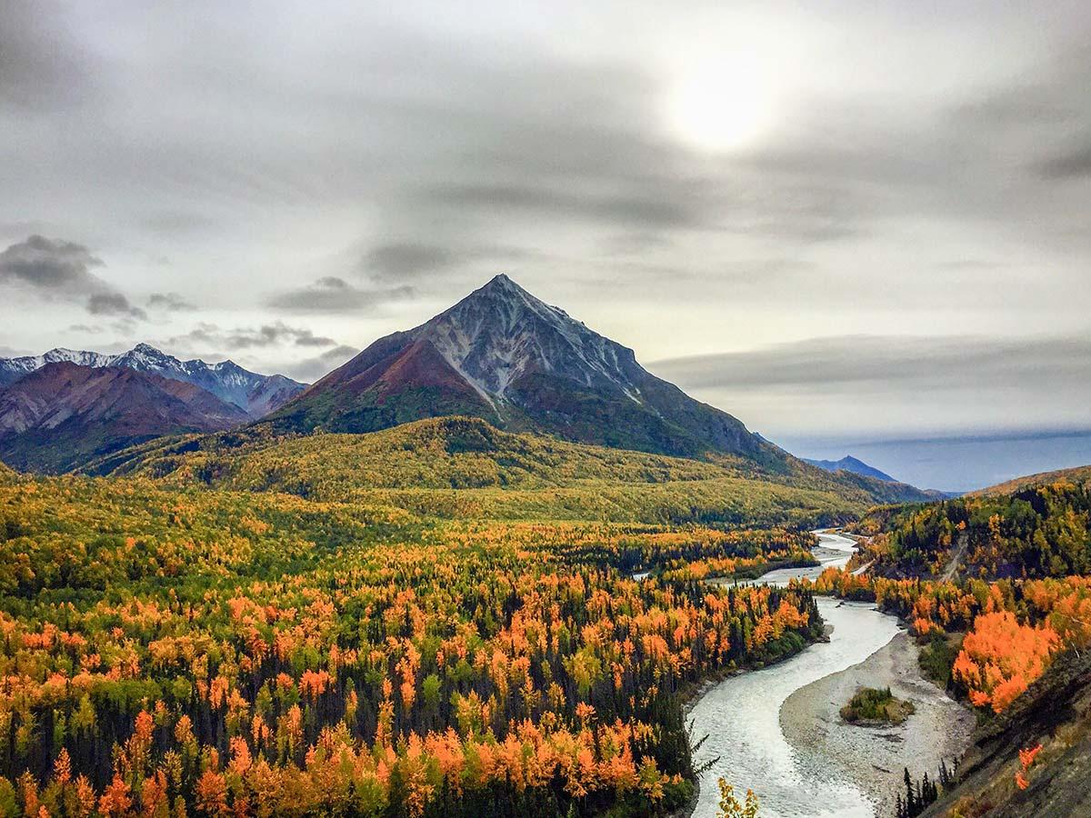 King's Throne Peak seen along the Glenn Highway, Alaska